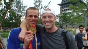 Garrett McCaffrey at the 2008 Olympics with 50 Free Champ, Cesar Cielo.