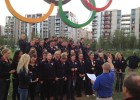 The 2012 US Olympic Swimming Team getting ready for the team photo.