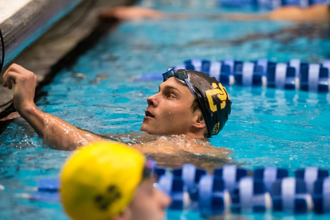 Morozov wins the 100 freestyle at WUG in a time of 47.62