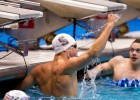 David Nolan celebrates his victory in the men's 100 backstroke: his second of the meet. (Photo: Tim Binning/TheSwimPictures.com)