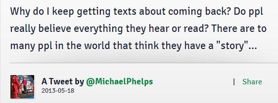 MichaelPhelpsComebackDenialTweet