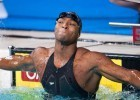 July 11, 2009. In the championship final of the 50 free, Cullen Jones and Garrett Weber-Gale tied for second going 21.55. Two days later, the pair would race to determine the final US World Championships team spot in the event. Jones won the swim-off in an American record 21.41 to Weber-Gale's 21.70. The previous American record was held by Garrett Weber-Gale (21.47). A year later, Jones would again tie for the second qualifying spot on the US World Championship team -- this time with SwimMAC teammate Josh Schneider. The two would race several months later at the Charlotte UltraSwim with Jones again winning the swim-off. (Photo courtesy: Tim Binning/TheSwimPictures.com)