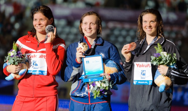 Lotte Friis, Katie Ledecky, Lauren Boyle, 800 freestyle final, 2013 FINA World Championships (Photo Credit: Victor Puig)