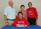 Garrett Chin signs NLI with Boston University. (Photo credit Anne Lepesant)