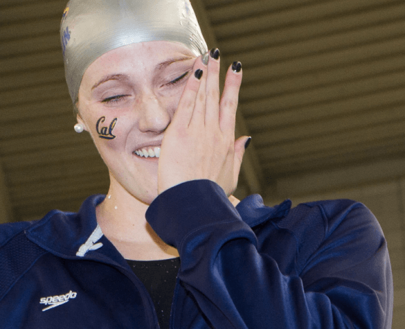 Missy Franklin, awards + tears after her 200 freestyle NCAA record at the 2014 NCAA Women's DI Swimming & Diving Championships (Tim Binning, theswimpictures)