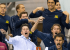 Coach Durden & the Cal bench cheer on their 400 medley relay at the 2014 Men's NCAA DI Swimming and Diving Championships (courtesy of Tim Binning, the swim pictures)
