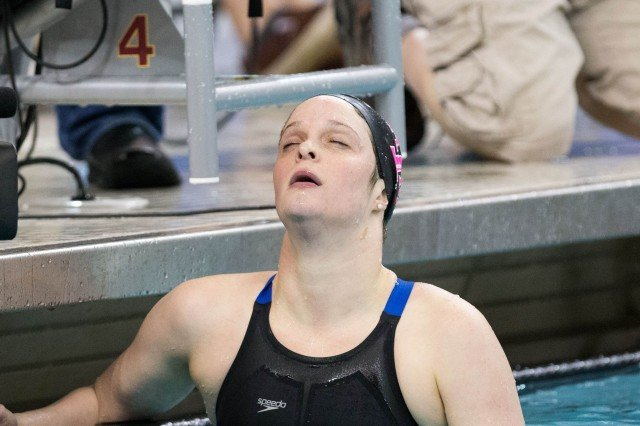 Texas A&M Senior Camille Adams breathes a sigh of relief after winning the 200 fly in her final collegiate race at the 2014 Women's NCAA DI Swimming & Diving Championships (courtesy of Tim Binning, the swim pictures)