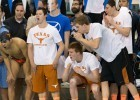 The Texas Longhorn bench cheers on teammate Will Licon in the 400 IM Championship final at the 2014 NCAA Division I Swimming and Diving Championships. (courtesy of Tim Binning, theswimpictues)