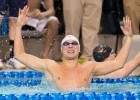 Marcin Cieslak of Florida celebrates his second individual win at the 2014 NCAA Division I Swimming and Diving Championships after taking the 100 fly in 44.87.  Earlier he won the 200 individual medley. (courtesy of Tim Binning, theswimpictues)