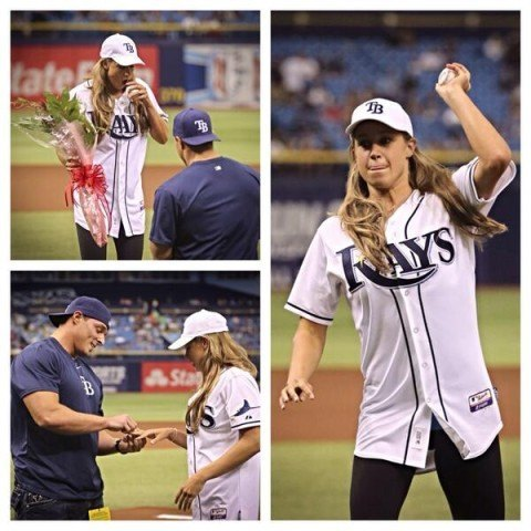 Katie Hoff first pitch proposal from Rays Twitter