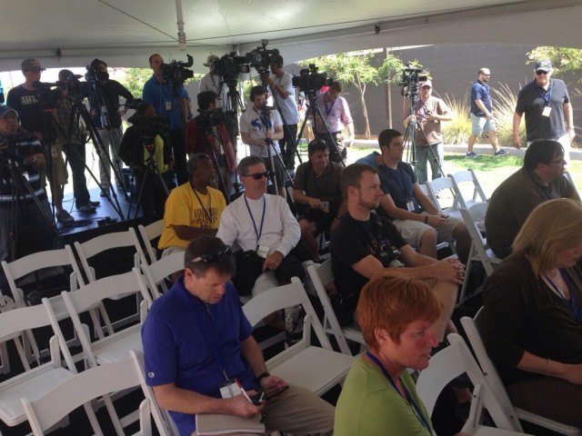 The media ready themselves for Michael Phelps 1st press conference on the comeback trail. (courtesy of Mike Lewis)