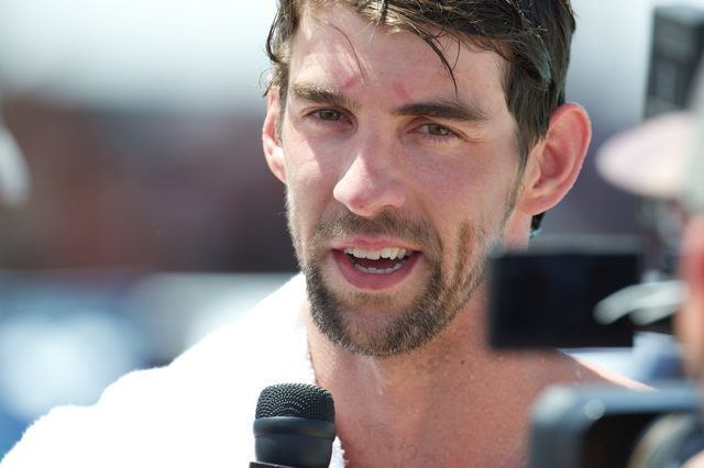 Michael Phelps during his 100 fly prelim post race interview  at the 2014 Arena Grand Prix in Mesa (Courtesy: Mike Lewis, olavistaphotography.com)