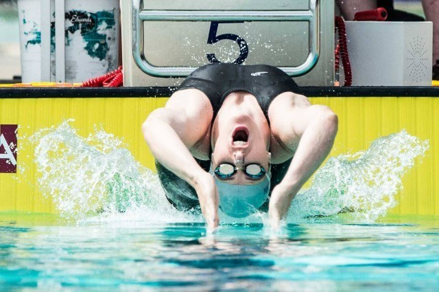 Go back.  Missy Franklin off the start in the 200 backstroke (photo: Mike Lewis, Ola Vista Photography)