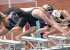 Ella Eastin and Haley Anderson at start of prelims 400 IM at LA Invite. Photo Anne Lepesant