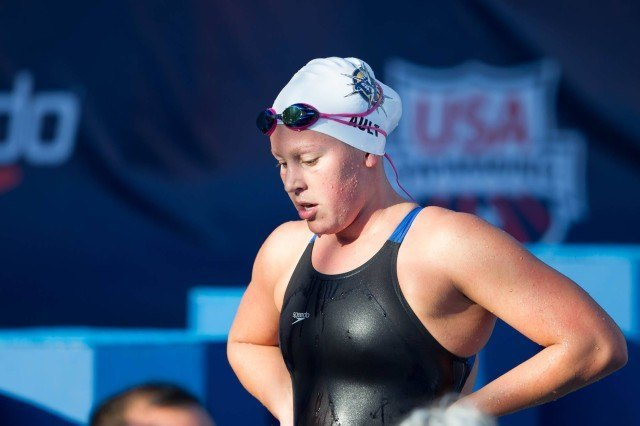 Taylor Ault won the B Final of the girls' 400 free in 4:12.84 on Friday. (Courtesy: Tim Binning/TheSwimPictures.com)