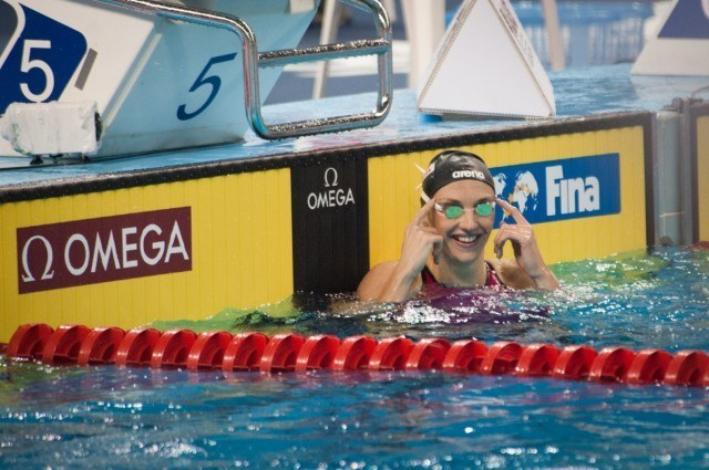Katinka Hosszu smiles after new World Record - 1st round - 2014 FINA World Cup, (courtsy of FINA)