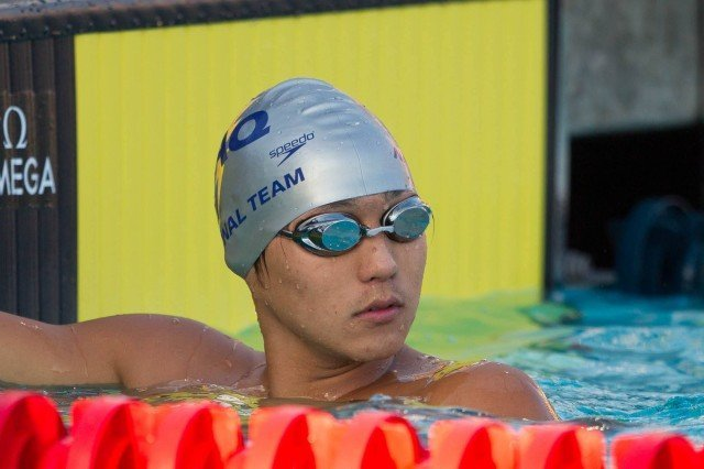 Anthony Kim was stoic after a lifetime best, and first swim under 55 seconds, at the 2014 Junior National Championships. He swam a  54.93 to win the C Final. (Courtesy: Tim Binning/TheSwimPictures.com)
