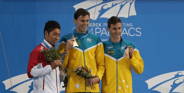 Kosuke Hagino, Thomas Fraser-Holmes & Cameron McEvoy 2014 Pan Pacs (courtesy of Paul Younan)