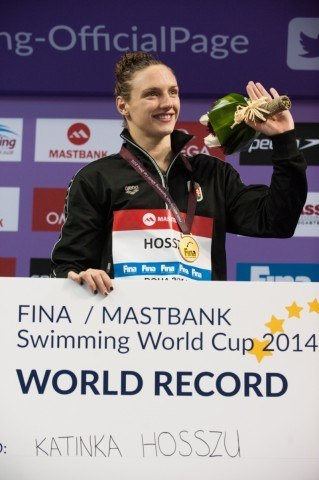 Katinka Hosszu -Winning Bonus Collected in Doha - 2014 FINA World Cup (courtsy of FINA)