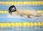 Kelsi Worrell swims the fly leg on the 4x100m medley relay at Toronto 2015
