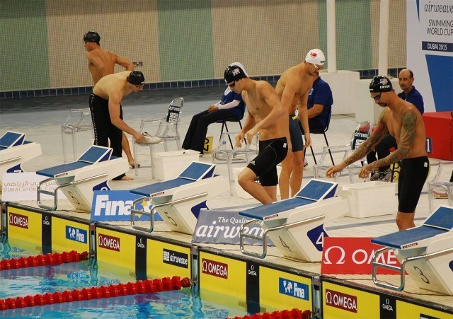 Anthony Ervin and Michael Andrew stepping up to the blocks