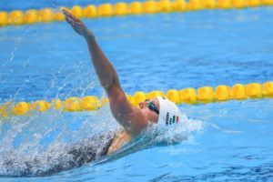 Hosszu stroking to victory in the women's 200 back.