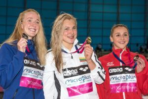 The women's 100 breaststroke medal ceremony featuring gold medallist Ruta Meilutyte.
