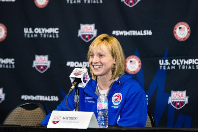 Katie Ledecky - 2016 US Olympic Trials venue,  courtesy of Tim Binning, theswimpictures.com