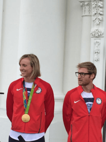 Gold medalists at the White House, Olympian Katie Ledecky and Paralympian Brad Snyder courtesy Brad Wolvin