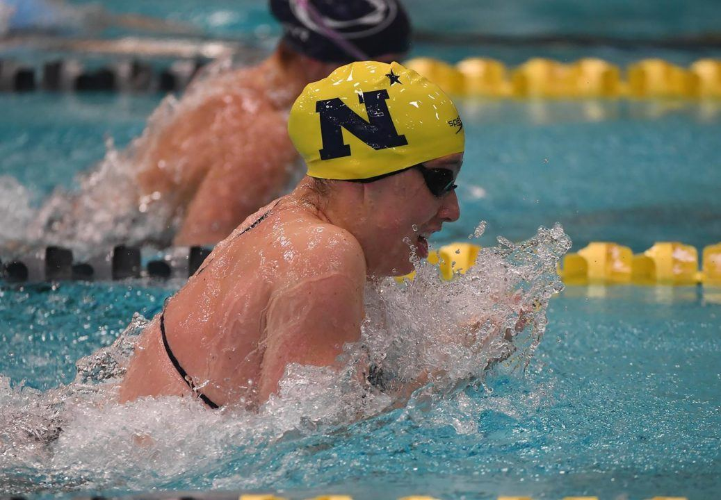 Navy Breaks Conference Record, Leads After Day 1 of Patriot League Champs