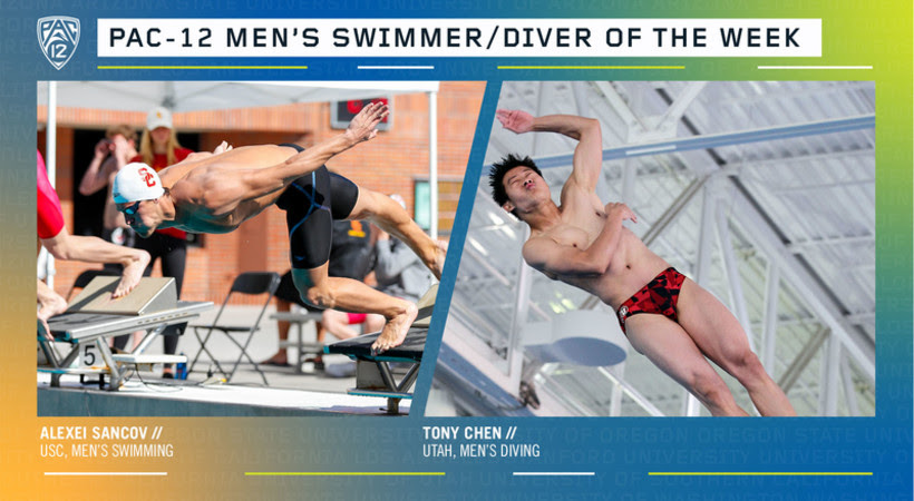 Sancov, Chen Named Pac-12 Men's Swimmer and Diver of the Week