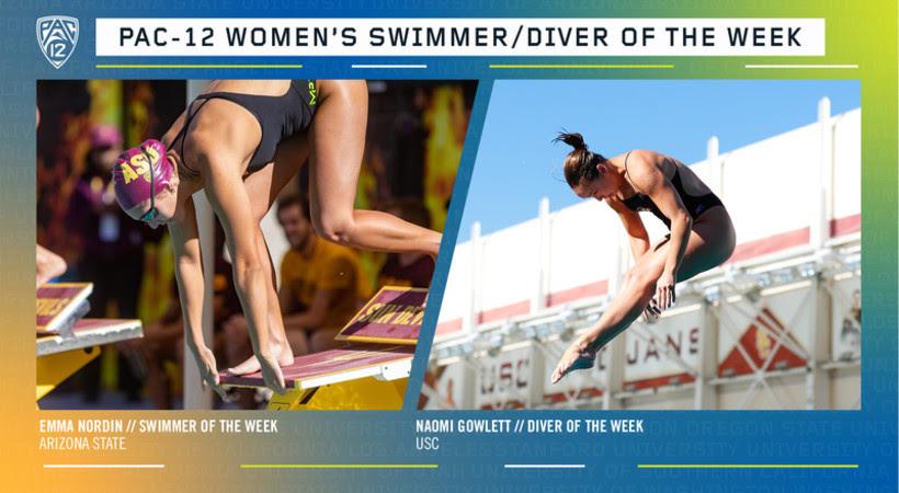 Nordin, Gowlett Named Pac-12's Women's Swimmer & Diver of the Week