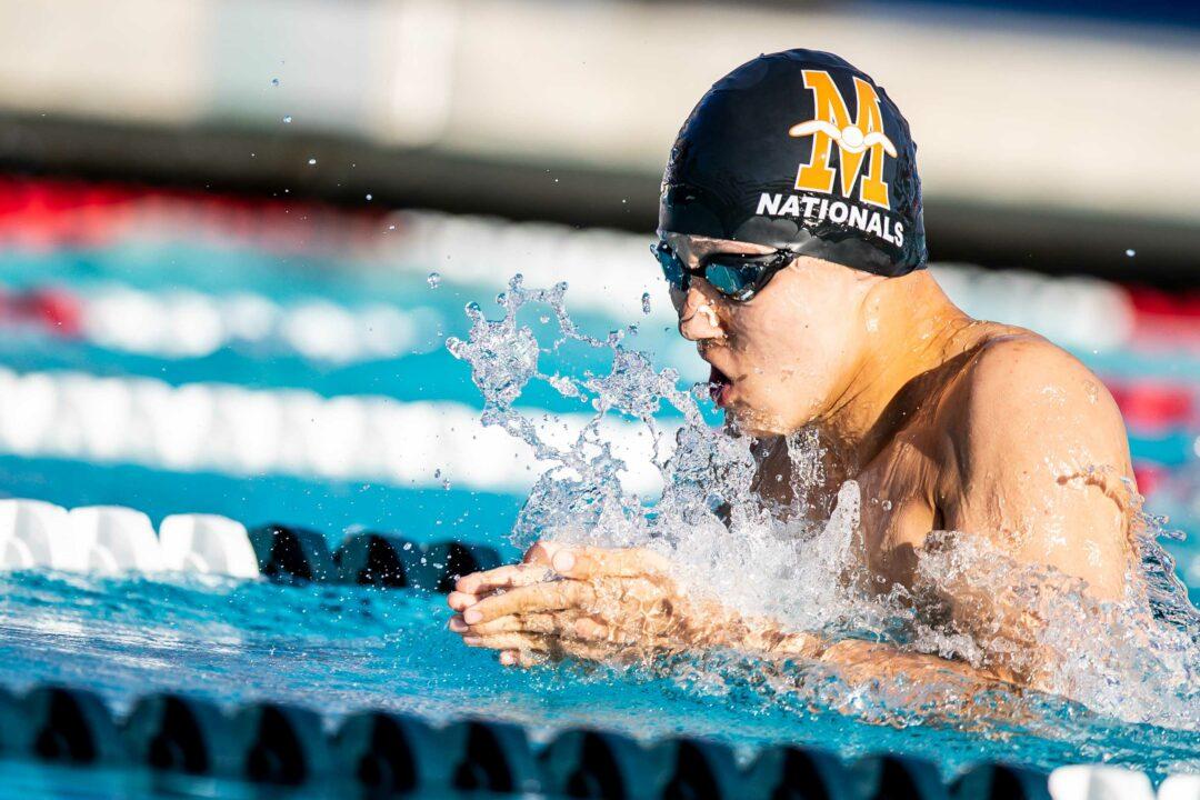 Metroplex's Zhier Fan Swims 1:01.02 100 Breast, Top 10 17-18 All-Time, #4 17yo